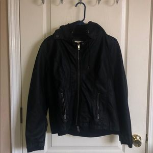 Hooded leather layered jacket